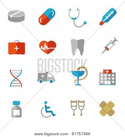 Set of colorful medical icons in flat colors
