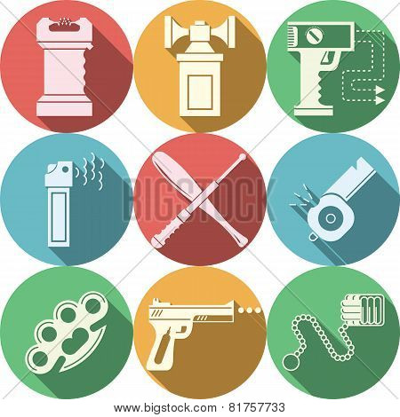 Color vector icons for self defence