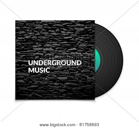Black vintage vinyl record and black underground music cover case with grunge stone texture isolated