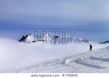 Snowboarder On Off-piste Slope With Newly Fallen Snow
