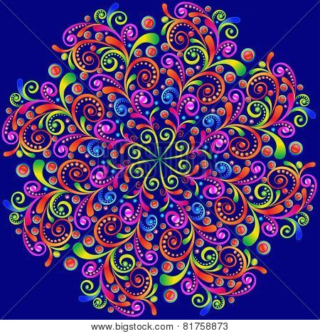 Background With Circular Swirls Ornaments And Precious Stones