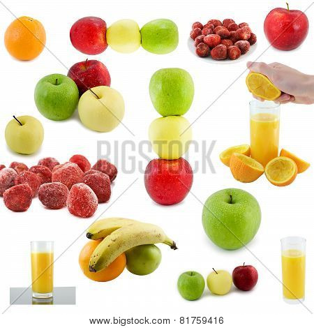 Collaje Of Fruits, Juce. Isolated