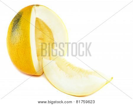 Ripe Melon With Sliced Over White.isolated