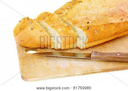 Fresh Cutting Bread. Isolated