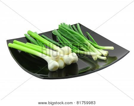 Young Onion, Garlic And Letucce. Isolated.