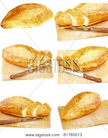 Collection, Set Fresh Cutting Bread. Isolated