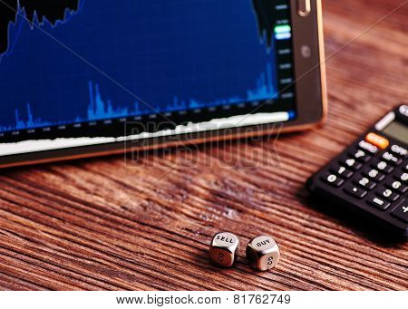 Dices Cubes,tablet, Financial Chart, Calculator.