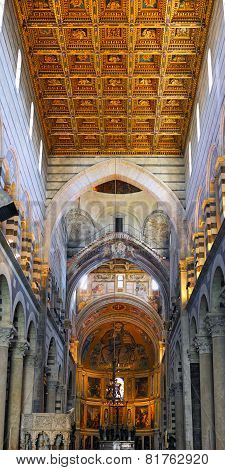 Interior Of Cathedral Duomo In Pisa, Italy