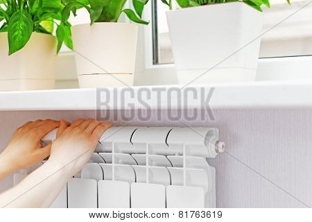 Arm Put On  Heating White Radiator.windowsill With Flowers.