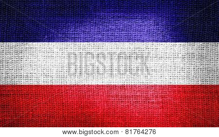 Los Altos flag on burlap fabric