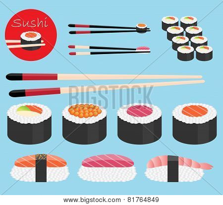 vector collection of sushi