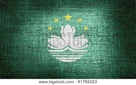 Macau flag on burlap fabric