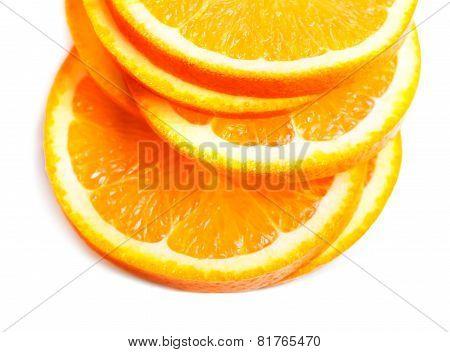 Slices Of Fresh Orange Fruit  Isolated On White Background Closeup. Stack Of Orange Slices