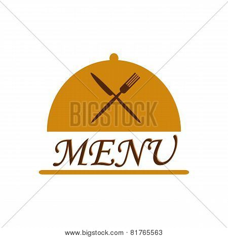 Cloche With Crossed Flatware And Menu Text