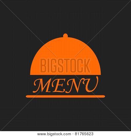 Menu Text In Orange Cloche On Black