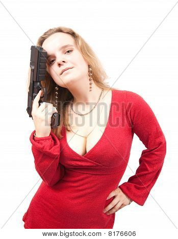 Woman In Red Dress With Gun