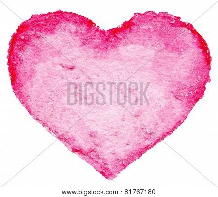 Watercolor Painted Red Heart Symbol For Your Design Isolated Over White Background. Heart Shape For