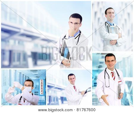 Set (collage) of doctor.