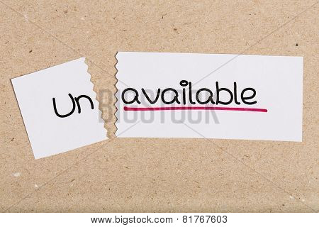 Sign With Word Unavailable Turned Into Available