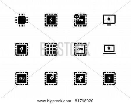 CPU and microprocessor icons on white background.