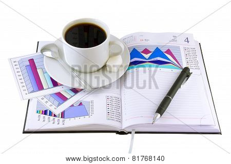 Coffee Cup, Standing On The Organizer. Isolated