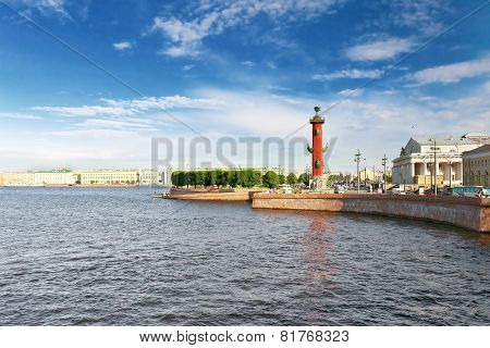 PETERSBURG, RUSSIA- June 29, 2012 Rostral Column in Saint Petersburg in Russia.