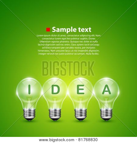 Vector idea light bulb on the background