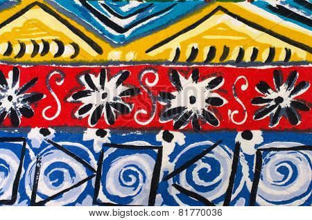 Flowers And Shapes On Colorful Fabric.