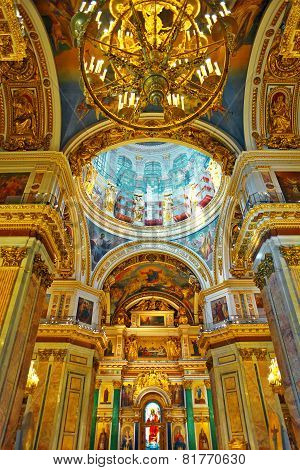 ST. PETERSBURG,RUSSIA FEDERATION - JUNE 29:Interior of Saint Isaac's Cathedral in St Petersburg