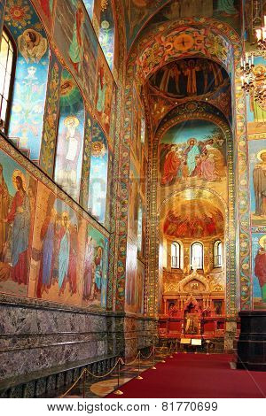 St. Petersburg, Russia Federation - June 29:interior Of Church Savior On Spilled Blood . Picture Tak