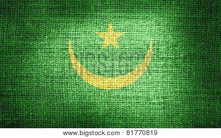 Mauritania flag on burlap fabric