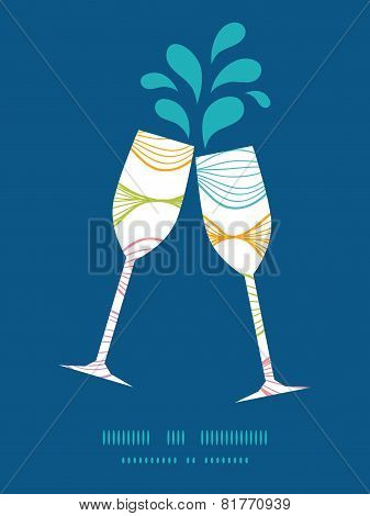 Vector colorful horizontal ogee toasting wine glasses silhouettes pattern frame