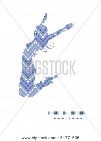 Vector purple drops chevron jumping girl silhouette pattern frame