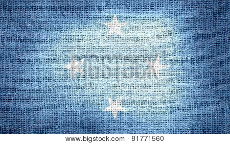 Flag of Federated States of Micronesia on burlap fabric