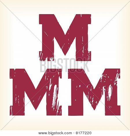 Grunge vector M letter - vector type alphabet - egyptian serif font