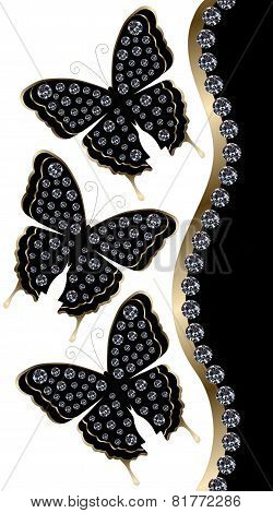 Three Black Butterflies with Diamonds Vertical Border