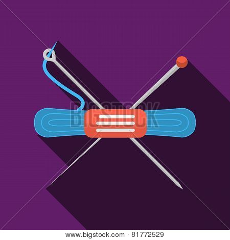 Blue yarn flat vector icon