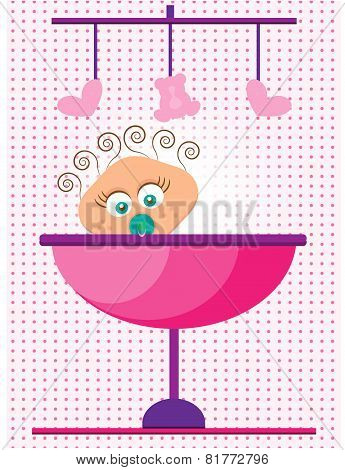 Baby shower - its a girl, dotted background