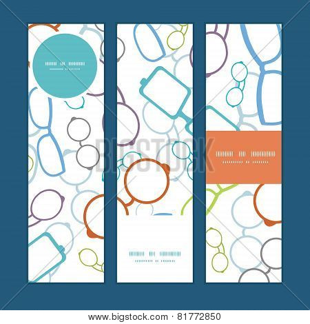 Vector colorful glasses vertical banners set pattern background