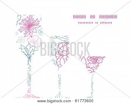 Vector gray and pink lineart florals three wine glasses silhouettes pattern frame
