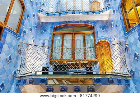 BARCELONA, SPAIN - SEPT  04, 2014: Interior and inner chambers Gaudi's  creation house Casa Batlo.