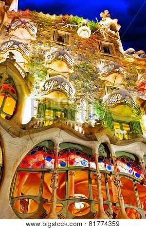 BARCELONA, SPAIN - SEPT  04, 2014: Night outdoor view  Gaudi's  creation-house Casa Batlo.