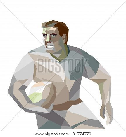 Rugby Player Running Low Polygon