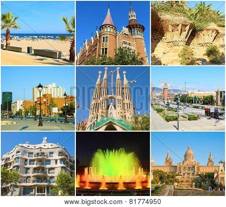 BARCELONA, SPAIN - AUGUST  28, 2008: Beautiful collage of Barcelona,