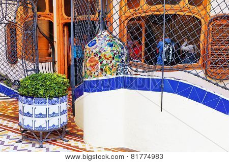 BARCELONA, SPAIN - SEPT  04, 2014: Roof, housetop  Gaudi's  creation-house Casa Batlo.