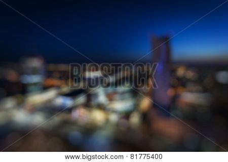 Blured View Of Warsaw Downtown During The Night
