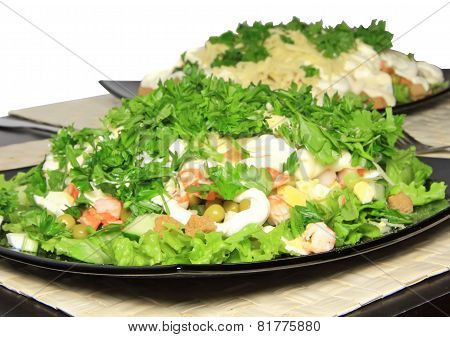Salad With Shrimps, Dried Crust, Leaf Of Lettuce.