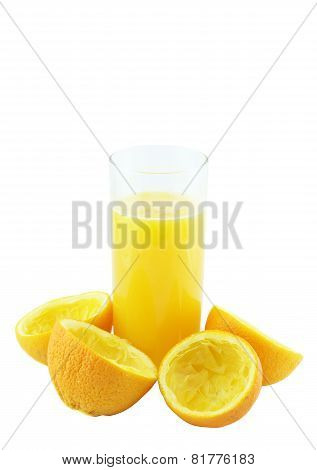 Orange Juice With Hand, Squeeze Of Orange.
