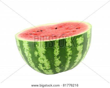 Half Of Ripe Watermelon. Isolated