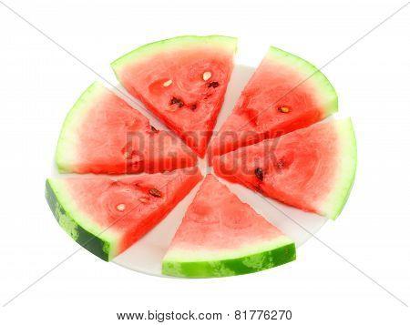Slice Of Juicy Watermelon. Isolated